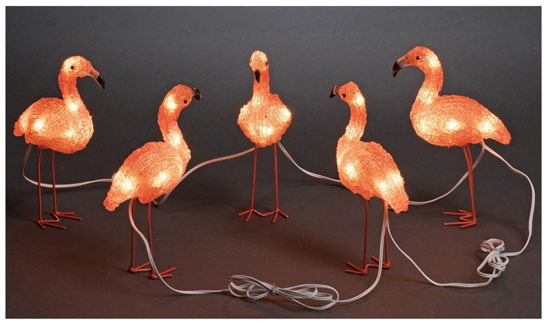 LED Lichtsnoer 5 meter, met 5 acryl flamingo's, warm wit