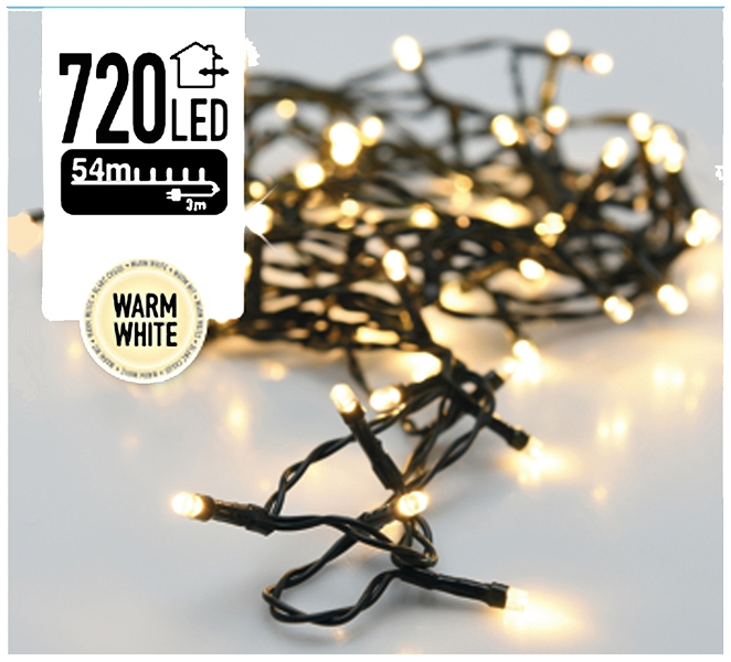 Kerstverlichting 720 LED's 54 meter warm wit