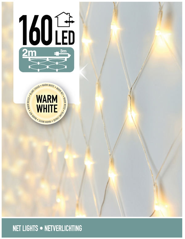 Netverlichting 160 LED's 200 x 100 cm warm wit
