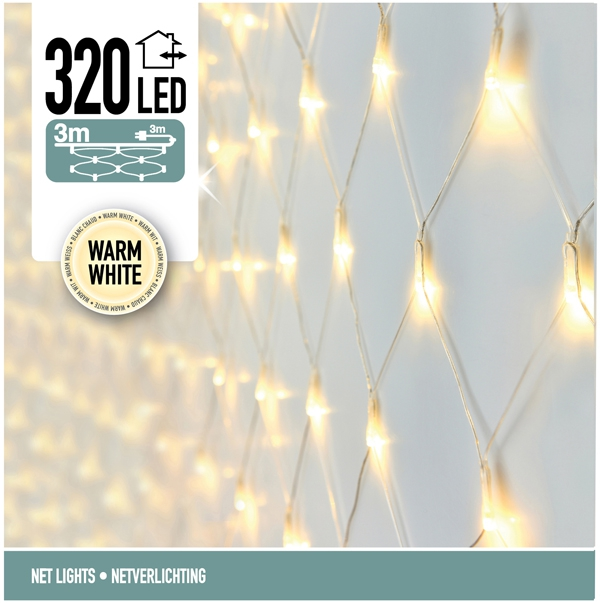Netverlichting 320 LED's 300 x 150 cm warm wit