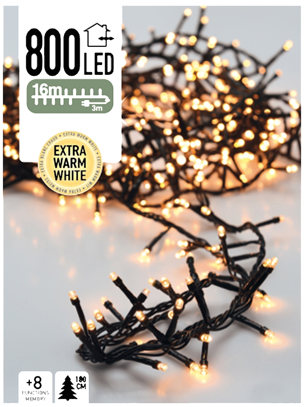 Micro Cluster 800 LED's 16 meter extra warm wit