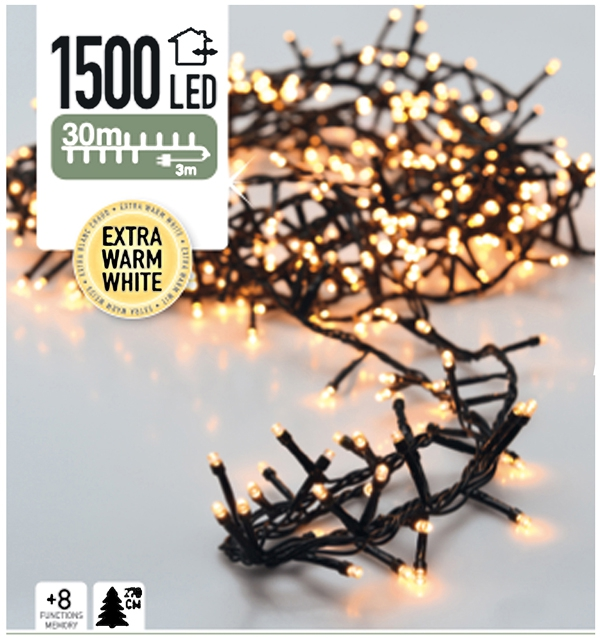 Micro Cluster 1500 LED's 30 meter warm wit