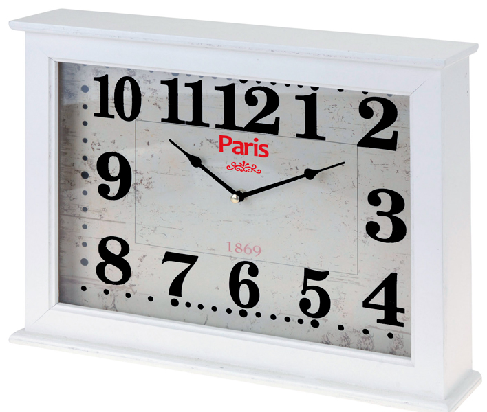 "Home & Styling Wand / tafelklok ""Paris"" 40x30x8cm (wit)"