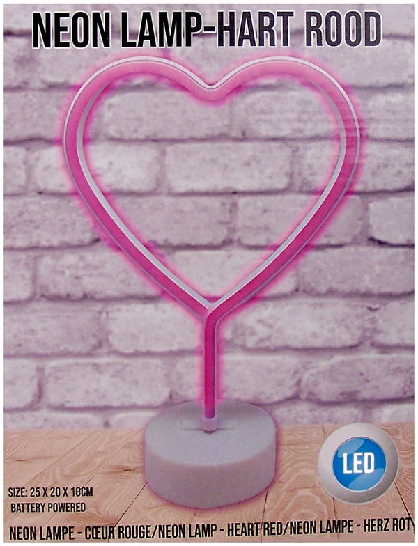 Neonstyle lamp - hart - rood