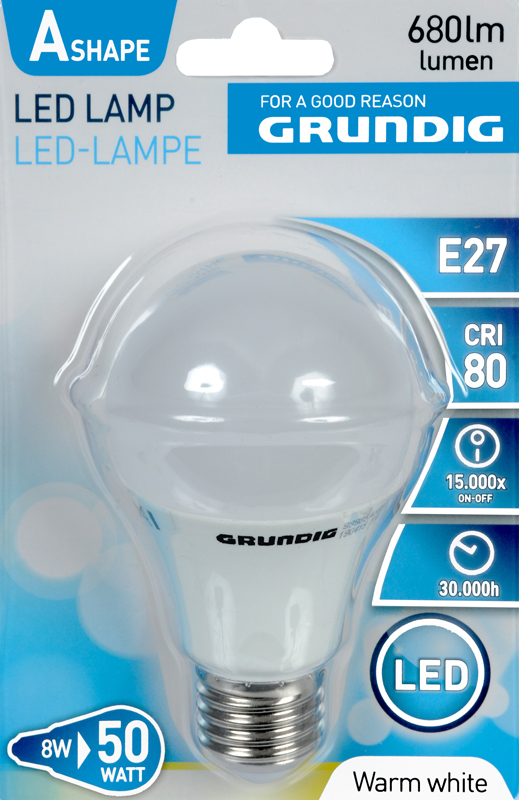 Grundig LED lamp, warm wit, 8W